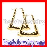 Wholesale Gold Bamboo Doorknocker Earrings BW6005-50  Free Shipping 5Pairs/lot