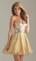 Free Shipping Short Gold Party Dress 6498 Prom  Dresses and Formal Evening Wear In Stock