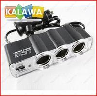 DC 12V 1 to 3 Car Cigarette Lighter Socket Power Adapter Splitter with 1 USB Port AAA 0120