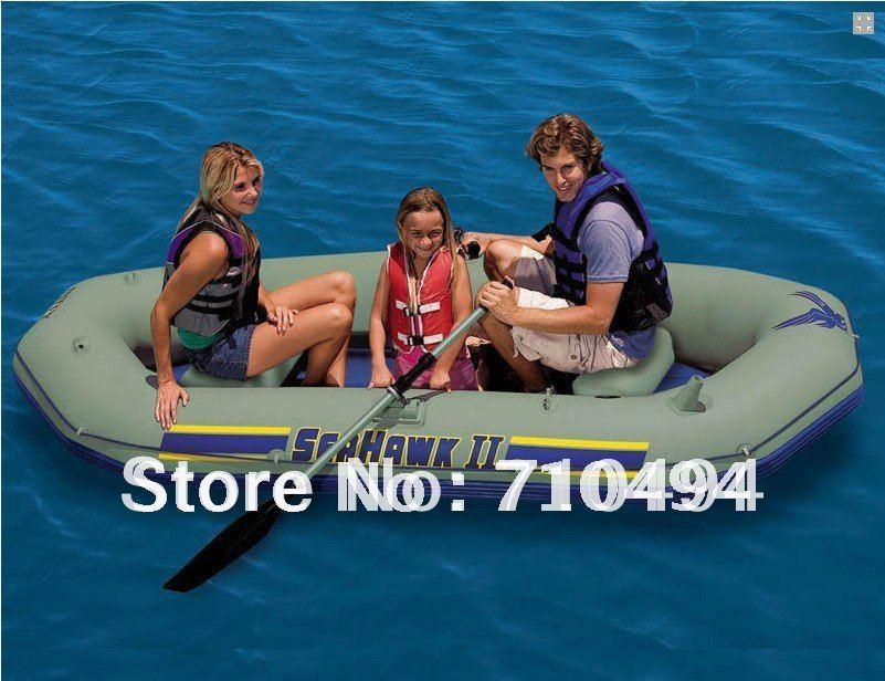 free DHL shipping intex seahawk II 68377 inflatable boat set - Three Man Lake, River Fishing Raft with pump & paddle etc(China (Mainland))