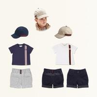 The latest boy stripe suit/hat + short sleeve T-shirt + stripe trousers/children three-piece children's clothes