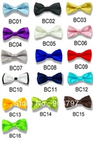 Lot of 5 pcs Brand New Kids Solid Bowtie Boys Pre Adjustable ties Formal Classical Style Wedding Satin Bow Tie Wholesale