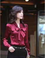 2012 new skinny blouse vintage bow spring clothing OL temperament ladies long sleeve shirt