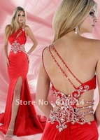 Sparkling Crystals Prom dress One-shoulder Formal gown Party dress