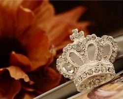 Fashion New Cute Silver Plated Charm Clear Rhinestone Crystal Diamond Crown Brooches Pins wholesale B3.90(China (Mainland))