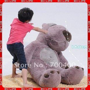 "180CM Lovely plush toy gray backkom bear with backbag good for gift STUFFED BROWN GIANT JUMBO 71""(China (Mainland))"