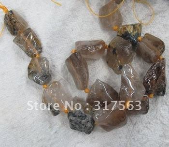 Gold quartz rutilated beads 18*30 mm nugget semi stone Loose beads 40 cm strand.Free shipping,