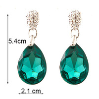 crystal earrinngs with AAA silver green waterdrop  dangle Chandelier earrings BA-216 Neoglory Rihood Trading