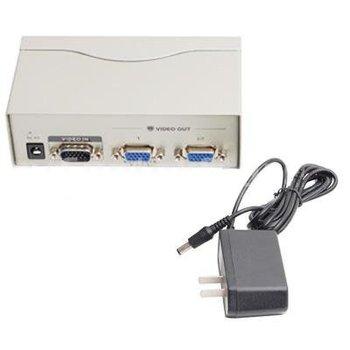 2 Port Video Multiplier VGA Video Splitter + Power Adapter for PC Computer