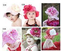 the baby fancy sun hats ,fabulous flower 100% cotton baby hats (12 pcs\lot)