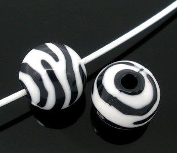 200 Zebra Striped Acrylic Spacer Round Beads 11mm