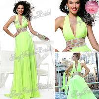 2014 Tarik Ediz Sexy New Halter A-line Waist With Beaded Floor length Chiffon Party Dress Evening Dresses Long