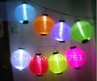 "10"" Solar Powered Chinese Lantern Patio Garden Party Festival Decoration Yard LED light, 30 PCS/lot, 8 colors,Wholesale-Freeship"