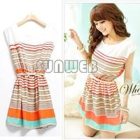 2014 summer New Colorful Stripes Chiffon Dress Free Bowknot Belt Women's Dresses free shipping 18