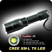 1Set Trustfire Z6 Flashlight 7 Mode 1300 Lumens CREE XM-L T6 LED Flashlight 18650 Battery Zoomable Flashlight Adjustable Torch