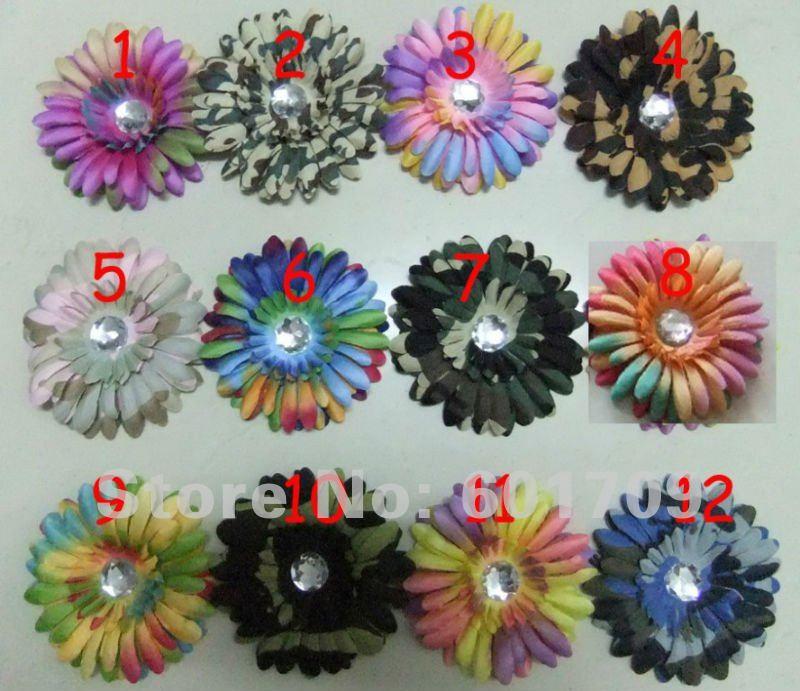 Free Shipping New design 144pcs rainbow Daisy Flower clip multicolor Gerbera Daisy Flower clips hair bows head flower(China (Mainland))