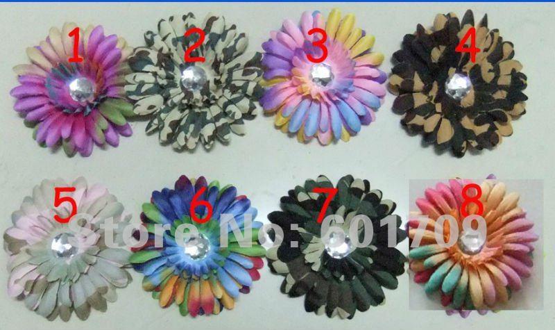 Free Shipping New design 60pcs rainbow Gerbera Daisy Flower clip +60pc Crochet headbands baby flower headband hair clips(China (Mainland))