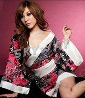 Hot Sale Red Pink 2 Colors Kimono Sexy Floral Kimono Robe Bathrobe Sexy Japanese Kimono