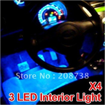Free Shipping 4 x 3 Blue LEDs Glow Neon Decoration Decor Interior light for Car Van