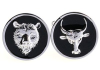 Animal Cufflinks 5 Pairs/Lot Plating White Steel Black Bear and Bull Head Cufflinks