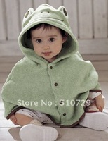 Free Shipping Fashion Coat Baby Cloaks Frog Coats Cotton Clothing Lovely Outwer Kids Cloak Children Mantle Cartoon Clothes 1pc