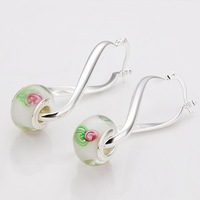 Free shipping! European Lampwork Clear with flower  Beads Pendant Good Sterling silver  Fashion Jewelry Earring PE3 Wholesale