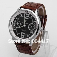 Free Shipping +High Quality  New 100% 1PCS Brown Men Gentlemen Man Quartz Wrist Watch with Leather Strap