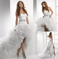 W1577 Best sellers organza long back short front designer wedding dress