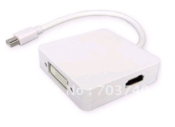 Free shipping 100pcs/lot  3 In 1 Mini DisplayPort To DVI-D DP HDMI Thunderbolt Cable For APPLE Mac Pro AIR