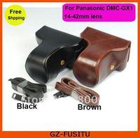 Leather camera case bag pouch for Panasonic Lumix DMC-GX1 14-42mm lens