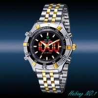 Wholesale WEIDE Men's Red LED Dual Display Digital Analog ALARM CLOCK Gold Quartz Sport Watches WH-905-G