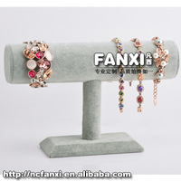 Free Shipping Beautiful Wholesale Price Silver Gray Velvet T Bar for Watch/ Bracelet/ Bangle Display