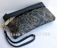 2012 new style women  clutch bags  day clutches genuine leather free shipping black