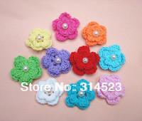 Hand cotton crochet flower applique 100pcs a lot 10 colors mixed shipping free