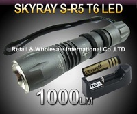5pcs/lot,R5 T6 Flashlight,5 Mode 1000lm CREE XM-L T6 LED Flashlight+1*18650 4000mah battery+charger