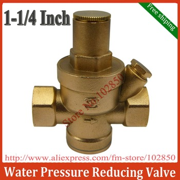 "Free Shipping 1/1/4"" Brass Water Pressure Reducing Valve with Pressure Gauge,Brass H59,Long life and great performance"