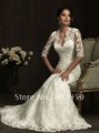 2012 Bridal - Ivory Lace Sweetheart Illusion 3/4 Sleeves Wedding Gown