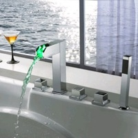 Faucetqing 040041 Color Changing LED Tub Faucet with Hand Shower - Blade Series