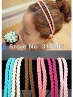 Free shipping thin skinny braided double headband faux suede 2 strand braided headbands