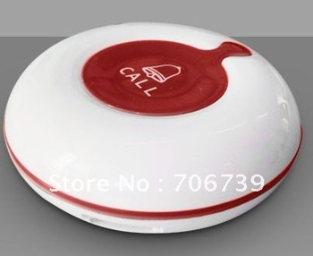 Table Bell with single call button,nice design,white case with red silica center key. for coffeeshop,teahouse,or clinic or ward