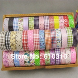 Free shipping wholesale DIY printed chambray dots floral fabric tape decorative Stationery office adhesive tape(60pcs/Lot)(China (Mainland))