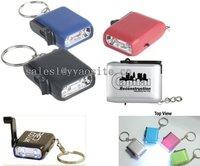 2LED keychain hand crank dynamo light  mini-dynamo-flashlight with LOGO / led keychain light