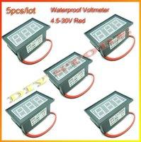 5pcs/lot Mini DC4.5V-30V Red waterproof Digital Voltmeter Volt Panel Meter +free shipping-10000421