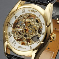 Classic Men's Black Leather Gold Dial Skeleton Mechanical Sport Watch Gift Free Ship Men's /Ladies Watch Top Quality