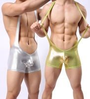 Mens Leather Underwear Bodysuit Boxers Silver Man Sexy Singlet one piece Underwear Gold Underwear Gym Wrestling Singlet