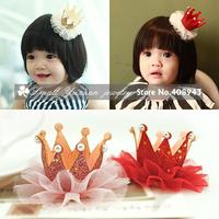3Pcs/lot New Fashion Colorful gauze pearl shiny Crown tiaras Cute baby hair clips Charming  chird/Girl/Princess Hair Accessories