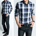 New Mens Shirts Casual Slim Fit Stylish Shirts blue plaid shirts fashion Free shipping Size:M,L,XL,XXL M408