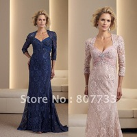 Free Shipping!!! 2012 Hot sell floor length cap sleeve lace mother bride dresses