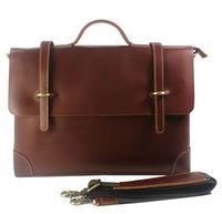 """FREE SHIP-Onsale!Hot Fashion Men's 100% Full Grain Bull Leather Genuine Brown Shoulder bag Messenger Bag Briefcase 14""""laptop Bag"""
