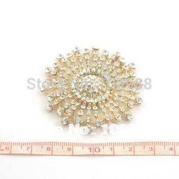 P233-068 Free Shipping 10PCS/Lot Brosche Gold Blume  Braun Bernstein Diamant Kristall Hochzeit Party
